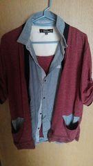 メンズ重ね着風半袖シャツ