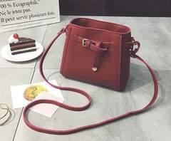 1円新品☆やわらかレザー調ベルトリボンシンプルショルダーバッグ赤レッド