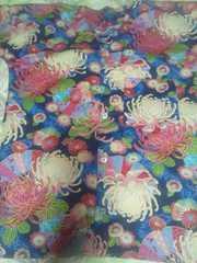 ☆新柄紺×着物風流水に大輪花扇子和柄ダボシャツM