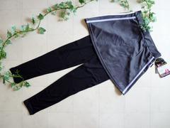 【新品】フィットネスレギンス付スカート�Aグレー《ラベンダーライン》Lサイズ
