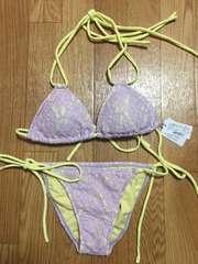 新品タグ付riendaリエンダフラワーレース三角ビキニ水着パープル紫花柄