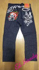 新同 [ エド・ハーディー ]デス オア グローリー刺繍 デニムジーンズ スカジャン好きも