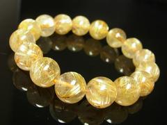 高級天然石数珠 金針水晶 タイチンルチルブレスレット 12mmパワーストーン