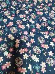 ☆処分品紺×桜蝶柄ダボシャツ120