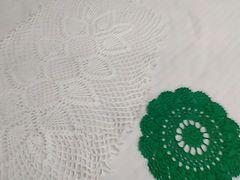 ハンドメイド レース敷物 2点白&緑 定形外205