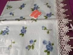新品 フレル 薔薇 花柄 タオル ハンカチ ブルー 青