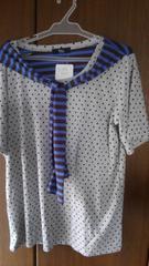 LLサイズ!タイリボン付き!半袖Tシャツ素材トップス!レーヨン入りでソフトな肌触り!