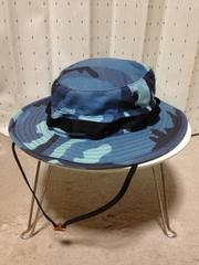 古着 ミリタリー カモフラ サファリハット 帽子 7:56cm 迷彩 青+黒 アメリカ製 アウトドア