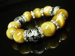 才能開花 銀彫龍ブラックオニキス×ゴールデンタイガーアイブレスレット 開運数珠