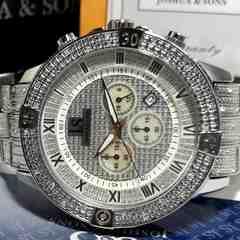 極美品【箱・カード付】Joshua&sons【クロノグラフ】超大型腕時計