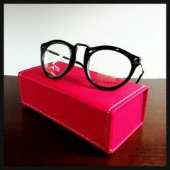 送料無料Luz☆メタルフレーム伊達眼鏡☆メガネケース付☆ラウンドフレーム