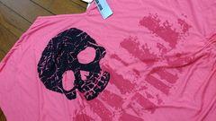 新品★「スカル柄!ポンチョ型Tシャツ」=赤ピンク系=大きめなM