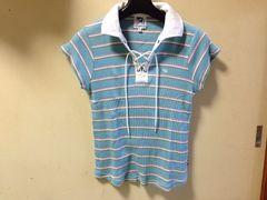 アーノルドパーマー半袖水色ボーダーポロシャツ夏ゴルフマリン