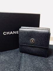 1円 ◆正規品◆ 美品 ◆ シャネル CHANEL 黒 Wホック 財布