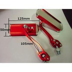 送料無料!汎用バイクミラー左右セット/正ネジ8mm/10mm対応/赤