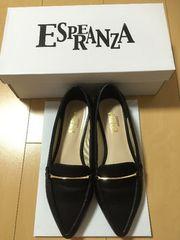 ESPERANZA/フラットパンプス 22�p BK