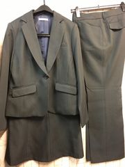 新品☆15号スーツ3点セット!パンツ・スカート黒シャドー☆n125