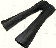 196■新品Lトルネードマートパンツ皺加工ベルボトム黒
