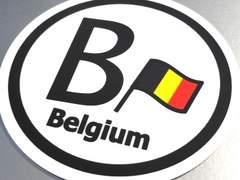○円形 ベルギー国旗ステッカービークルID国識別シール