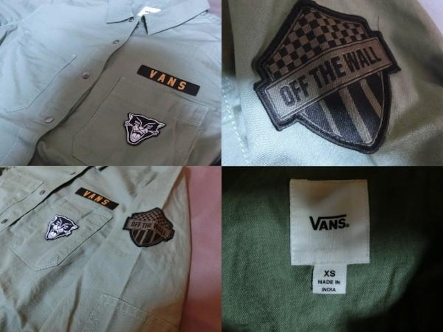 【VANS】ロゴ虎ワッペン付 アーミー風 ロングシャツUS XS < 女性ファッションの
