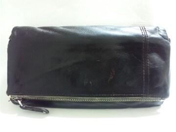 12093/Dakotaダコタブラックレザー革男女兼用で使いやすい長財布★