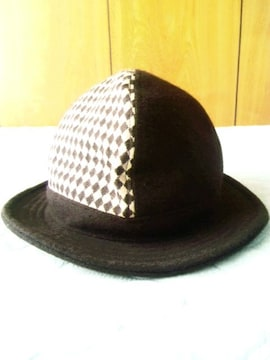 帽子屋■ブロックチェックハット■切り替え■ウール■日本製■茶