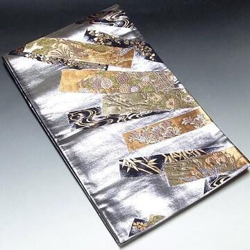 【袋帯】正絹 プラチナ箔 短冊花柄 吉祥文様