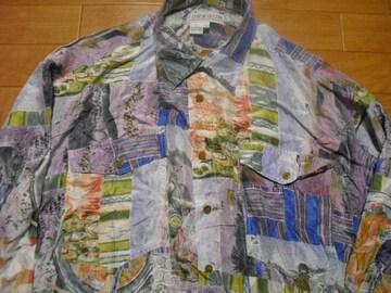 古着 総柄 シルク シャツ USA-L デッドストック