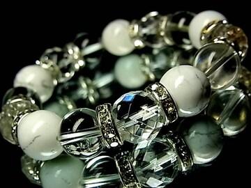 64面ダイヤカット水晶§天然水晶§ハウライトホワイトターコイズ§12ミリ§銀ロンデル