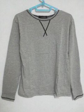 A-385☆新品☆<Sale>長袖無地キレイ目Tシャツ グレー M