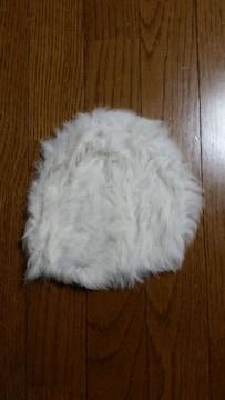 ファー帽子未使用ホワイト