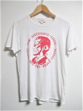 ☆DIESEL ディーゼル 切り放し加工 プリント Tシャツ 半袖/メンズ/S☆ホワイト