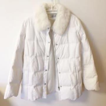 白ホワイト ラビットファー ダウンジャケット コート