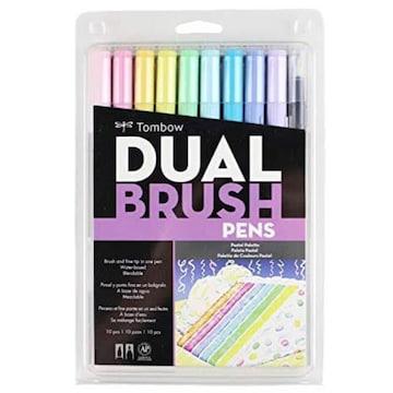 色パステル 10本セット トンボ鉛筆 筆ペン デュアルブラッシュペ