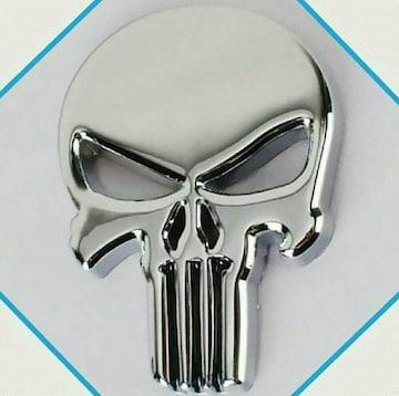 3D  ドクロ(大)ステッカー  金属エンブレム