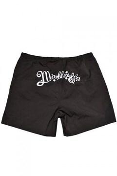 新品マーブルズMARBLESビーチショーツ黒S水着ロゴ刺繍TMT