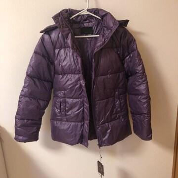紫パープルフェザーフォックスファーダウンジャケット