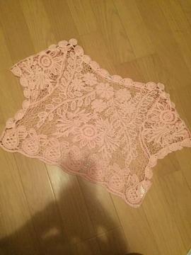 総花柄レーストップスショート丈ドルマンニットプルオーバー桜色