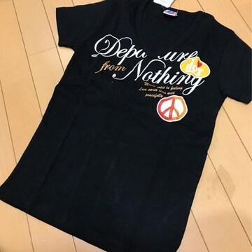 新品◆ピースマーク◆Vネック半袖Tシャツ◆130ラメプリント