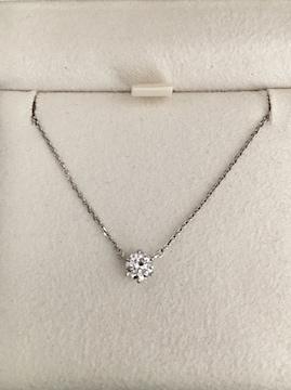 4℃ ダイヤモンド ネックレス Pt850 0.36ct 2.3g 鑑別書付き