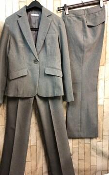 新品☆9号股下72グレーストライプ2パンツスーツお仕事n994