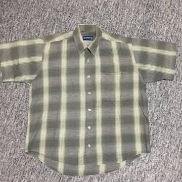 メンズ 麻混半袖チェックシャツ 濃グリーン系 ゆったりMサイズ