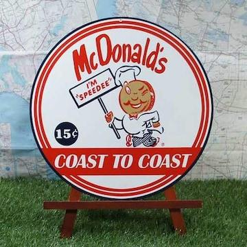 新品【ブリキ看板】McDonald's/マクドナルド Speedee 丸型