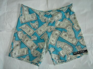 80's ライフズアビーチバッドボーイクラブハーフパンツ紙幣総柄L