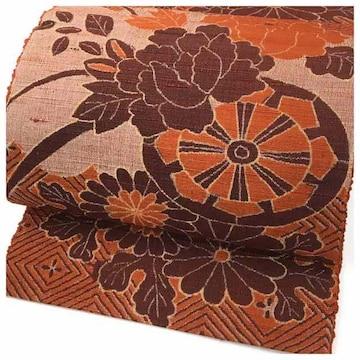 特選 紬 織り 花模様 太織り 名古屋帯 正絹 逸品 (赤)