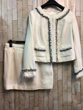 新品☆21号3L4L大きいサイズ白系ツイードスーツ入学式もg962