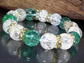 グリーンクラック水晶§クラック水晶12�_金ロンデル数珠
