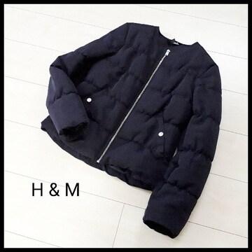 〇H&M〇ノーカラー中綿ダウンジャケット ネイビー