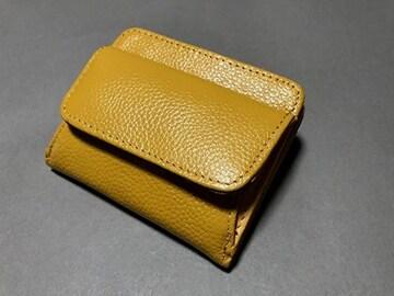【即決 激安】牛革 二つ折り ミニ財布 小銭入れ  黄色系