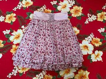 レストローズ☆モスピンク小バラ柄☆可愛い3段フリルスカート☆
